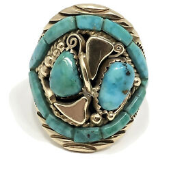 Vtg Navajo 14k Yellow Gold Natural Turquoise Mens Ring Size 10.5 Signed Ft 16.5g