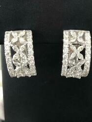 18k White Gold And Diamonds Hand Made Marquise Cut French Back Earrings Gift