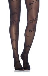 Pretty Polly Omg Wtf Motif Patterned Sheertights In Black Os Damaged Packaging