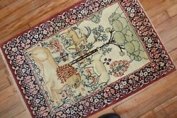 Antique Pictorial Lion And Deer Rug 2'1''x2'11''