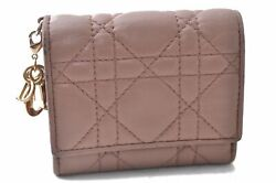 Authentic Christian Dior Cannage Lamb Skin Wallet Pink Cd A9838