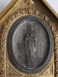 Very Old Holy Water Font Jhs Holy Virgin Mary 19th Century - Gilded Metal
