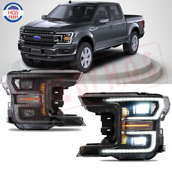 For 2018 2019 Ford F150 Projector Headlight Black Full Led Switchback Drl Signal