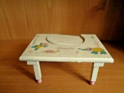 1950's Vogue Ginnette Doll Feeding Chair/table Wood, Painted White With Animals