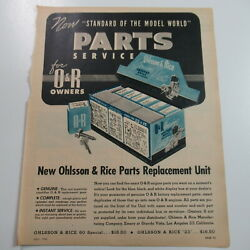 Vintage 40s Ohlsson And Rice Model Plane Parts Dyna-jet Double Magazine Ad 1946