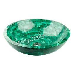 21 Inch Marble Sink With Random Work Counter Top Malachite Stone For Home Decor