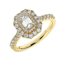 1.10carat Round And Emerald Cut Diamonds Halo Engagement Ring In 18k Yellow Gold