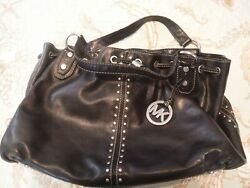 Michael Kors Astor Studded Small Zip Satchel Purse In Black Leather $19.99