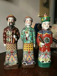 Antique Chinese Porcelain Figurine Statues A Set Of Three