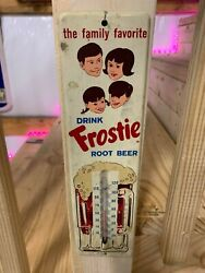 Vintage Frostie Root Beer Metal Thermometer Sign Soda Cola Gas Oil 11''