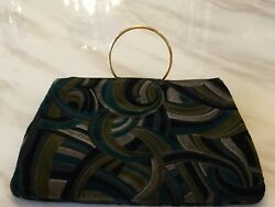 Versace Clutch Black And Green Multicolor $125.00