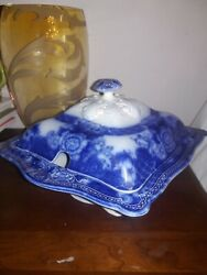 Mint Antique Flow Blue Verona-royal-woods And Son Covered Soup Tureen With Lid