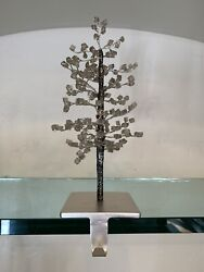 Pottery Barn Faceted Glass Mirror Tree Stocking Holder Christmas Decor New