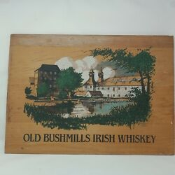 Vintage Wooden Old Bushmills Irish Whiskey Collectible Advertising Sign