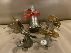 Lot 5 Metal Silver Gold Plated Angel Christmas Ornaments 1992 Bell Nutcracker