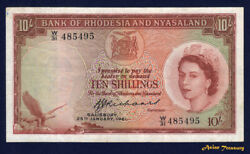 1961 Rhodesia And Nyasaland 10 Shilling Banknote P-20a Queen Elizabeth Qe Ii Vf+
