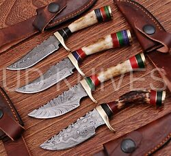 Lot Of 16   6 Inch Custom Damascus Steel Hunting Knife  stag Antler 22331