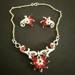 Vintage Signed Coro Costume Jewelry Adolf Katz Necklace And Earrings