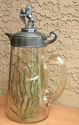 Moser Fish Cameo Hp Glass Pitcher Stein Tankard Lion Galle Era Enameled