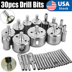 30pcs 6-50mm Diamond Core Hole Saw Drill Bits Tool Cutter For Tiles Marble Glass