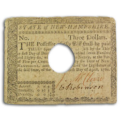1780 3 New Hampshire Currency 4/29/1780 Fine Cancelled - Sku224692