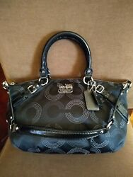 COACH Madison Dotted Sophia Op. Art Small Black Satchel Shoulder Bag 15935 EUC. $59.99