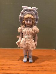Vintage Bisque Girl Doll With Bonnet 5 1 2quot;