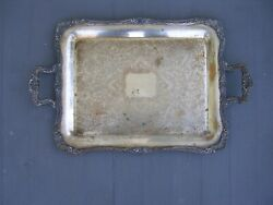 Vintage Looks Like English Silver Mfg Corp Silver Plate Tray, Made In Usa