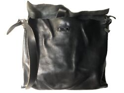 Exclusive Engsony Designer Black Cow Leather Italian, Vegetable Tanned, Signed