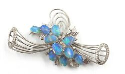 Crystal Opal And Diamond Spray Style Brooch 9ct White Gold Womenand039s Fine Jewellery