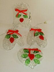 Clear Spun Glass Crystal Ornaments Lot Of 4 Holly Leaves And Hearts Christmas