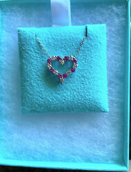 New Diamond And Pink Sapphire And Co. Heart Necklace