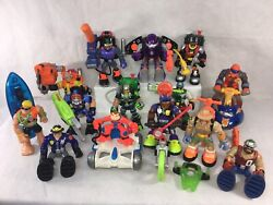 Fisher Price Rescue Heroes Lot X 13 People 1 Space Monkey Lunar Rover Snowmobile