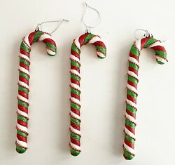Stripe Candy Cane Ornament Green Red White With Trim Plastic 9.75 X 3 Lot Of 3