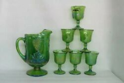 Indiana Harvest Grape Green Carnival Glass Set Of Pitcher And 6 Goblets
