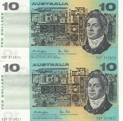 Australia And039knight Stoneand039 Gothic Paper 10 1979 Uncirculated Consecutive Pair