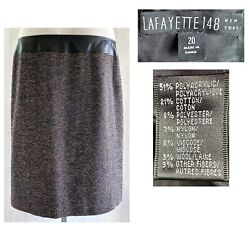 Lafayette 148 Ny Plus 20 Leather Band Combo Brown Tweed Dual Vent Skirt New