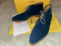 New Box John Lobb Shoes Ankle Leather Chukka Boots Loxton Blue Suede Uk 9 Us 10