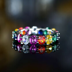 Sevil 18k White Gold Plated Oval Cut Multi- Color Gemstone Eternity Ring Band