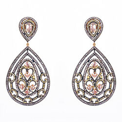 Diamond Pave 925 Sterling Silver Dangle Earrings 14k Gold Christmas Gift Jewelry