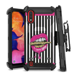 Best Heavy Duty Rugged Black Case for Samsung Galaxy A01 Bullets Pink Lips