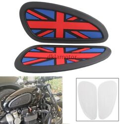 Universal Motorcycle Union Jack Custom Gas Tank Knee Grips For Harley Triumph