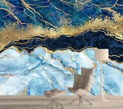 Textured Blue Marble Mural Wallpaper Home Decor Contact Papers Wall Background