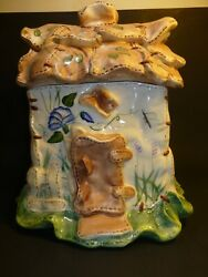 Country Cottage Cookie Jar By Coyne's 3d Thatched Roof Ruffled Edge
