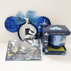Minnie Mouse The Main Attraction Peter Pan's Flight Ears, Mug And Pins - Lot Of 3