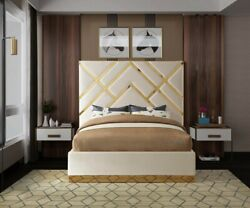 King Size Bed Cream Velvet Gold Metal Base Bedroom Furniture Contemporary Style