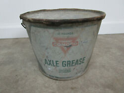 Vintage Conoco Pale Axle Grease Bucket Oil Can Advertising Station Sign
