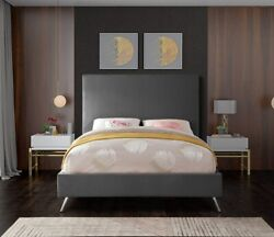 Twin Size Bed Grey Velvet Gold Chrome Legs Bedroom Furniture Contemporary Style