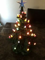 """16"""" Vintage Porcelain Ceramic Christmas Tree 70s With Star"""