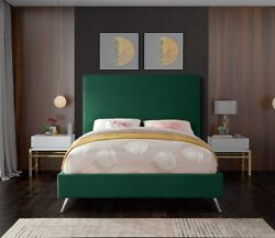 Twin Size Bed Green Velvet Gold Chrome Legs Bedroom Furniture Contemporary Style